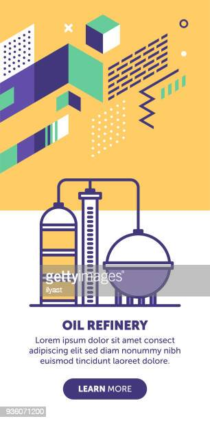 oil refinery banner - petrochemical plant stock illustrations, clip art, cartoons, & icons