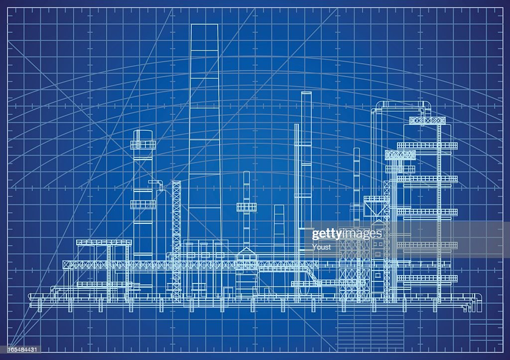 Oil refinery blueprint vector art getty images oil refinery blueprint vector art malvernweather Gallery