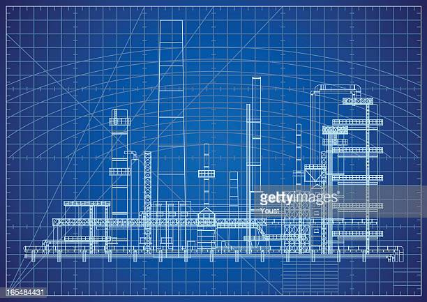 oil refinery blueprint - fuel station stock illustrations, clip art, cartoons, & icons