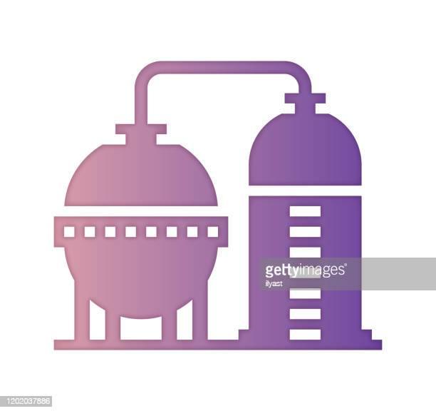 ilustrações, clipart, desenhos animados e ícones de design de ícone de preenchimento de gradiente de refinaria de petróleo e estilo de corte de papel - fábrica petroquímica