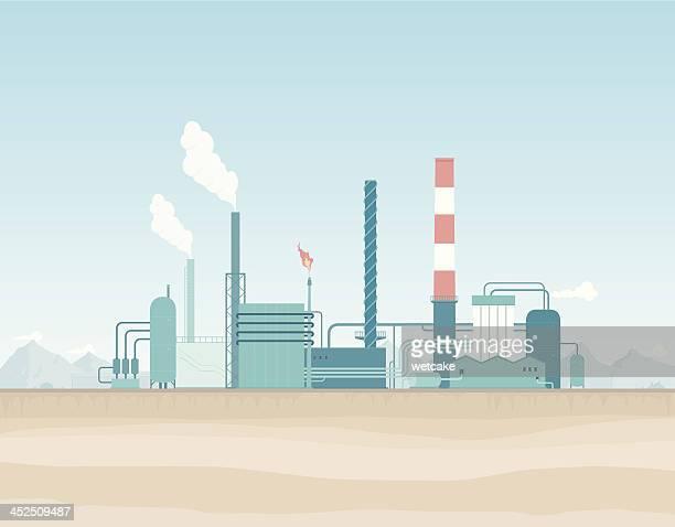 oil refinery in the desert - crude oil stock illustrations