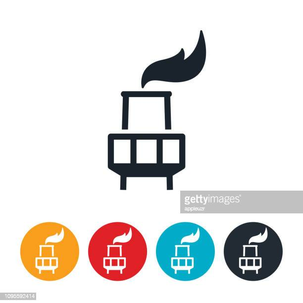 oil refinery stack icon - flare stack stock illustrations, clip art, cartoons, & icons