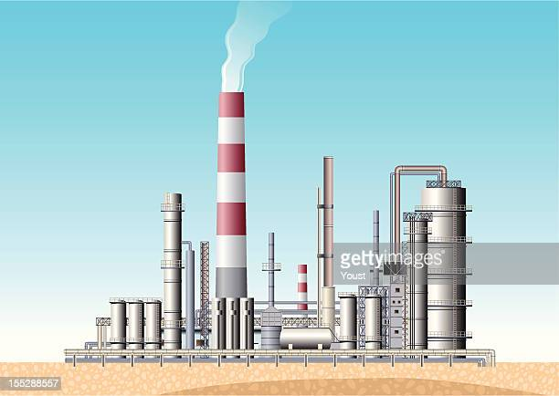 oil refinery - oil field stock illustrations, clip art, cartoons, & icons