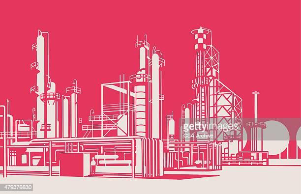 oil refinery - herstellendes gewerbe stock-grafiken, -clipart, -cartoons und -symbole