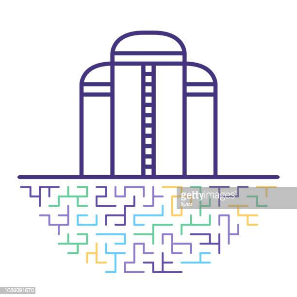oil refinery vector line icon illustration - distillation stock illustrations, clip art, cartoons, & icons