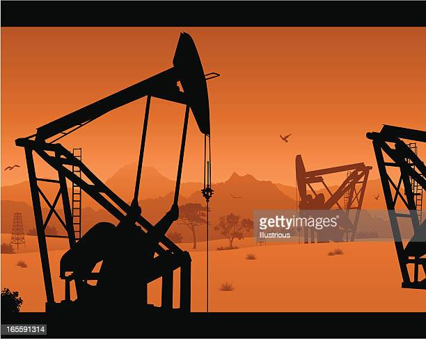 oil rig and derrick scene - oil field stock illustrations, clip art, cartoons, & icons