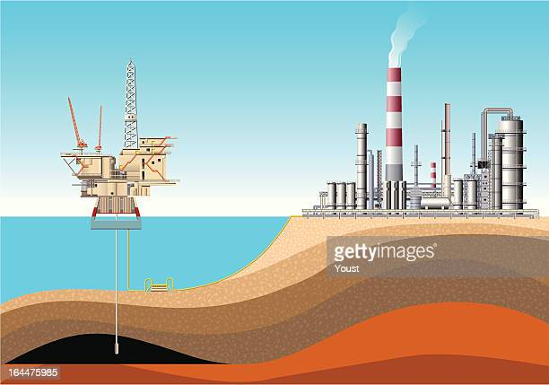 oil rig and refinery - offshore platform stock illustrations, clip art, cartoons, & icons