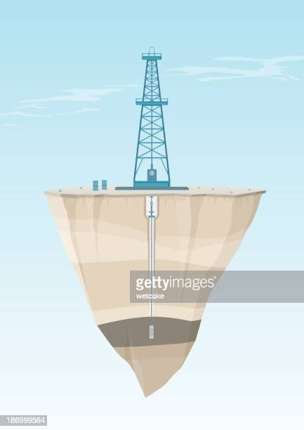 oil rig cross section - oil field stock illustrations, clip art, cartoons, & icons