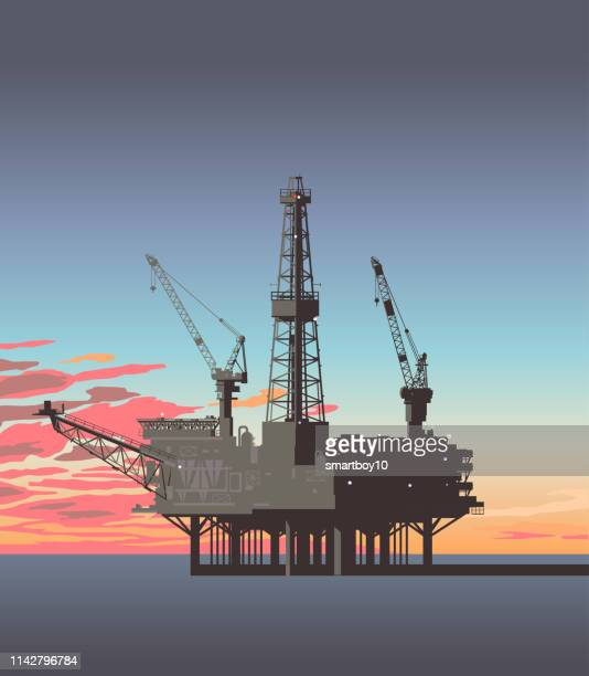oil rigs or platforms - drilling rig stock illustrations, clip art, cartoons, & icons
