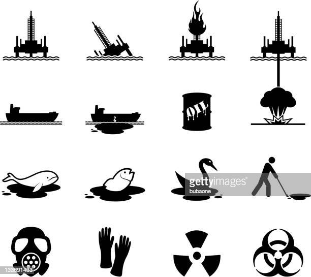 oil spill disaster black and white vector icon set - motorboating stock illustrations, clip art, cartoons, & icons