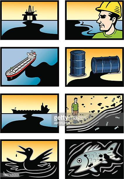 Oil Spill Disaster Icons