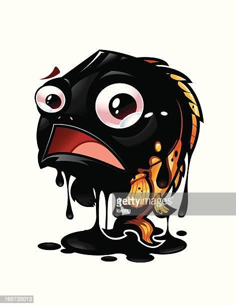 oil spill - water pollution stock illustrations, clip art, cartoons, & icons