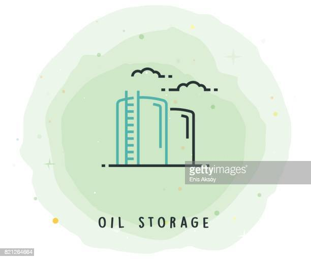 Oil Storage Icon with Watercolor Patch