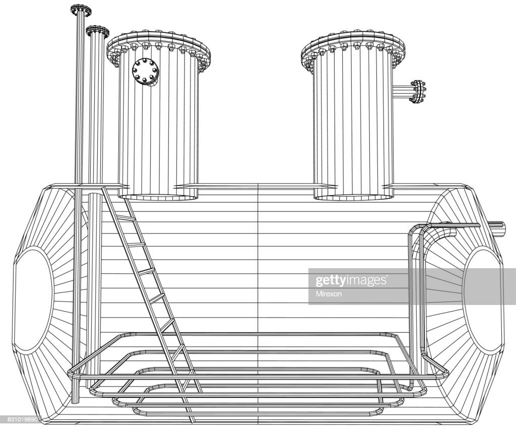 Oil tank. Wire-frame. EPS10 format. Vector created of 3d.