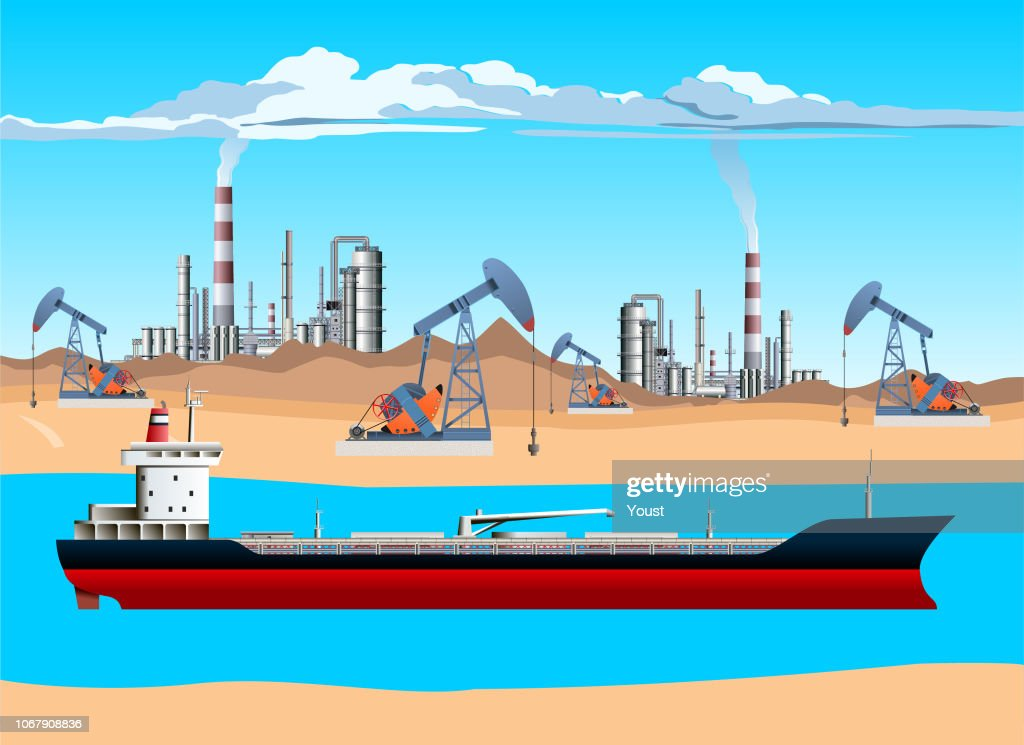 Oil Tanker, Pump Jack, Drilling Rig and Refinery. Oil and Gas Production Facilities : stock illustration