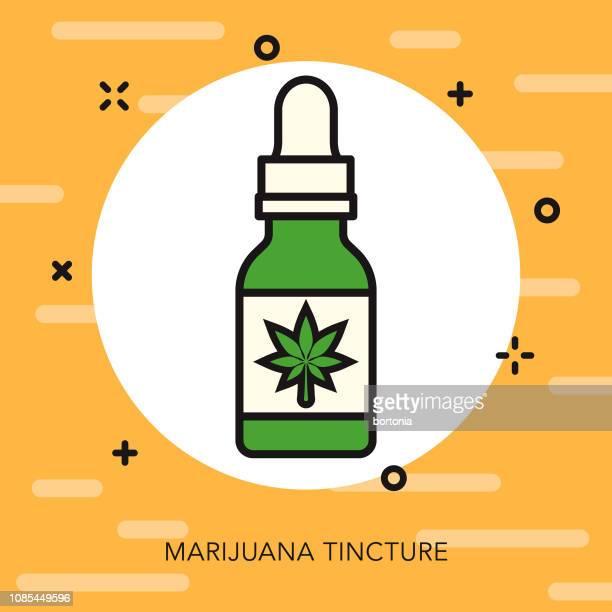 oil thin line marijuana icon - cannabis medicinal stock illustrations, clip art, cartoons, & icons