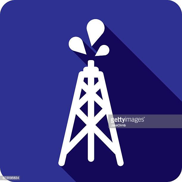 Oil Tower Icon Silhouette