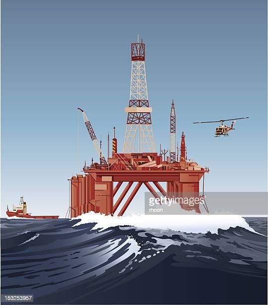 ilustraciones, imágenes clip art, dibujos animados e iconos de stock de plataforma de perforación de aceite - torre petrolera