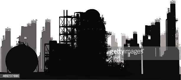 ilustraciones, imágenes clip art, dibujos animados e iconos de stock de oilrefineries - torre petrolera
