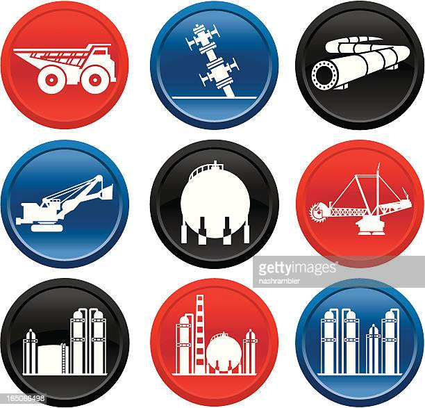 oilsands icons on buttons - oil field stock illustrations, clip art, cartoons, & icons