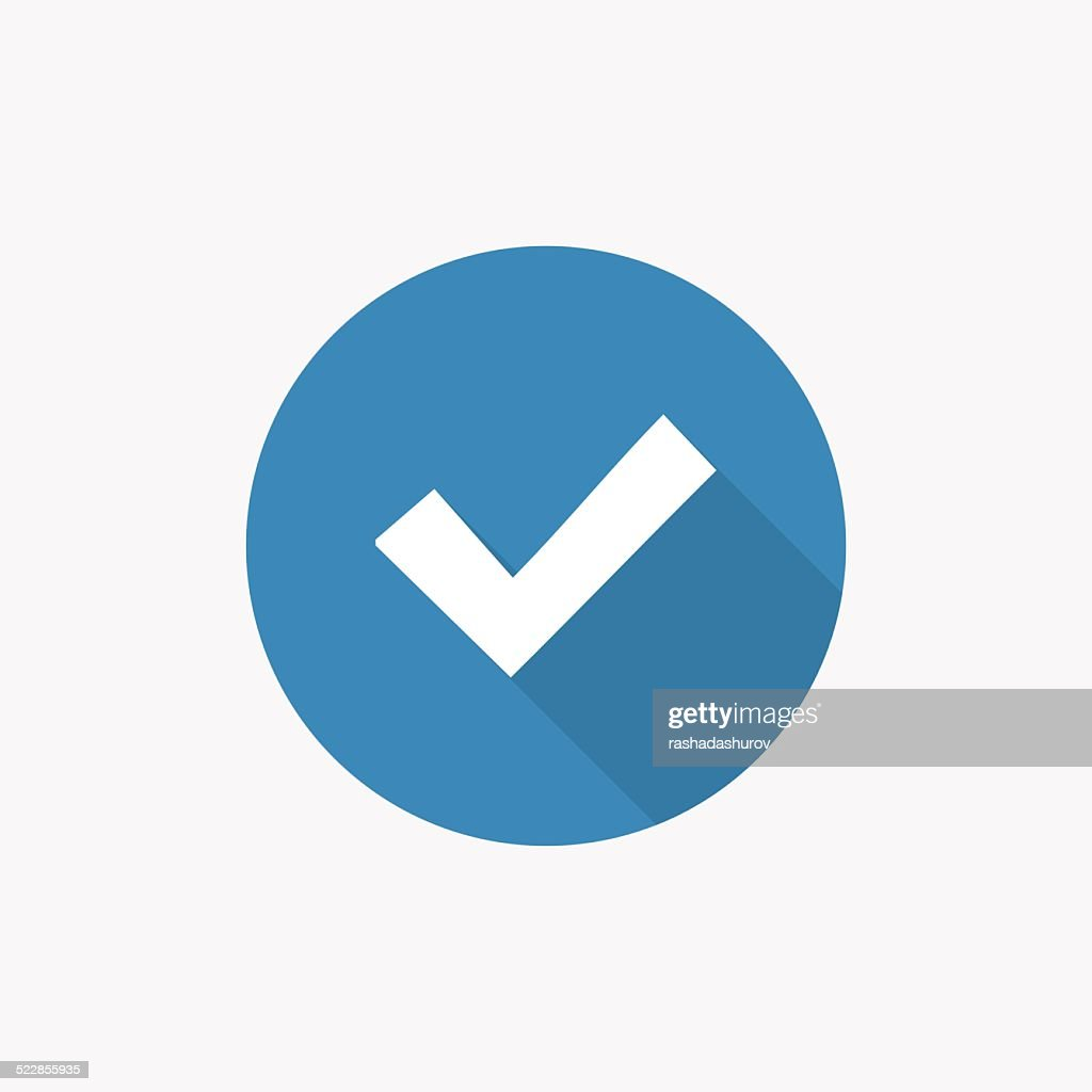 ok Flat Blue Simple Icon with long shadow