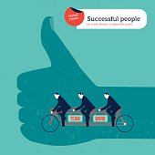 Ok hand businessmen on a tandem bike