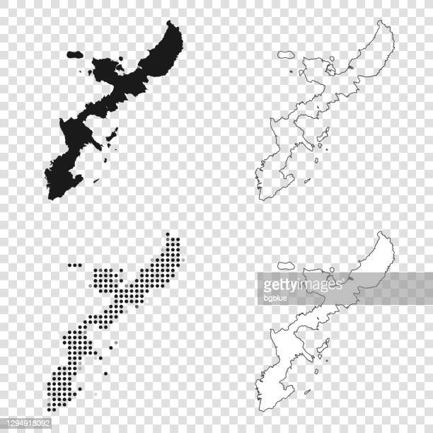 okinawa island maps for design - black, outline, mosaic and white - okinawa prefecture stock illustrations