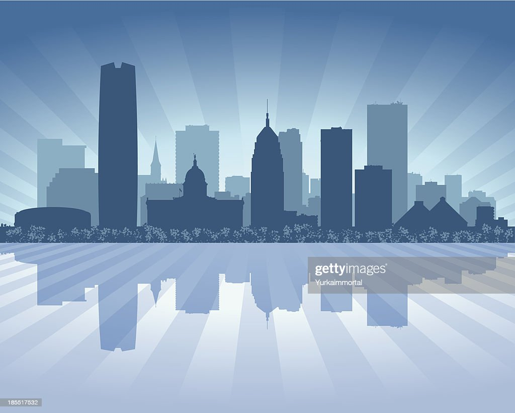 Oklahoma city Blue skyline silhouette