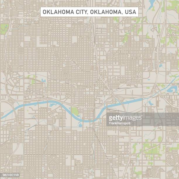 oklahoma city oklahoma us city street map - oklahoma city stock illustrations