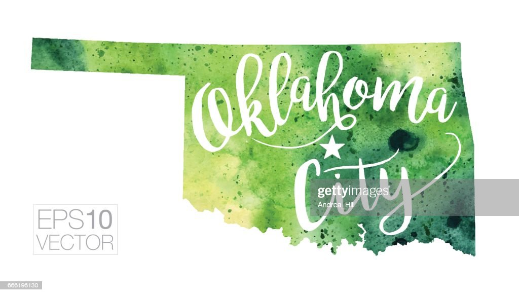 Oklahoma City Oklahoma Usa Vector Watercolor Map Vector Art - Usa map with oklahoma