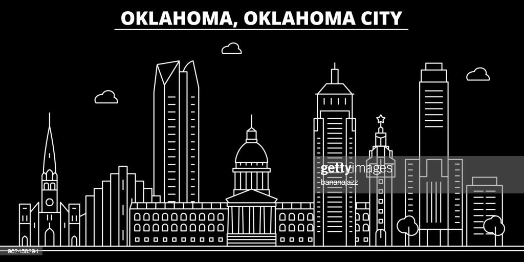 Oklahoma City silhouette skyline. USA - Oklahoma City vector city, american linear architecture, buildings. Oklahoma City travel illustration, outline landmarks. USA flat icon, american line banner