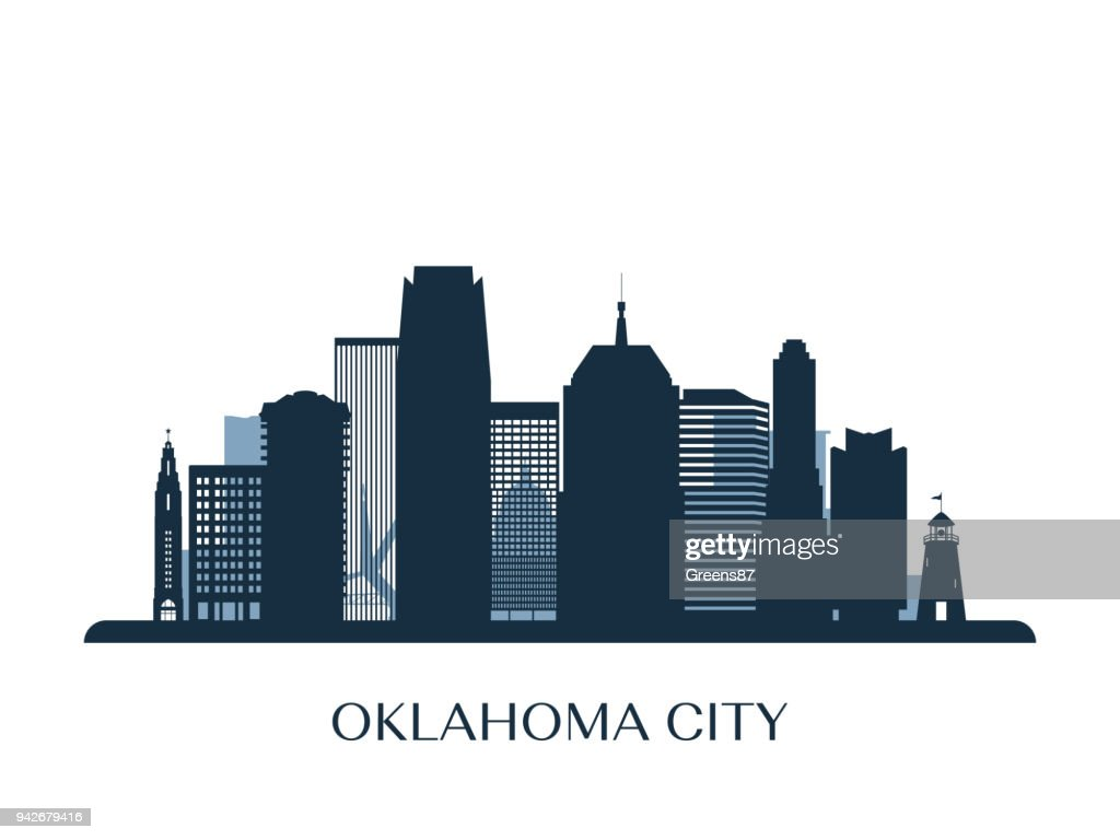 Oklahoma City skyline, monochrome silhouette. Vector illustration.