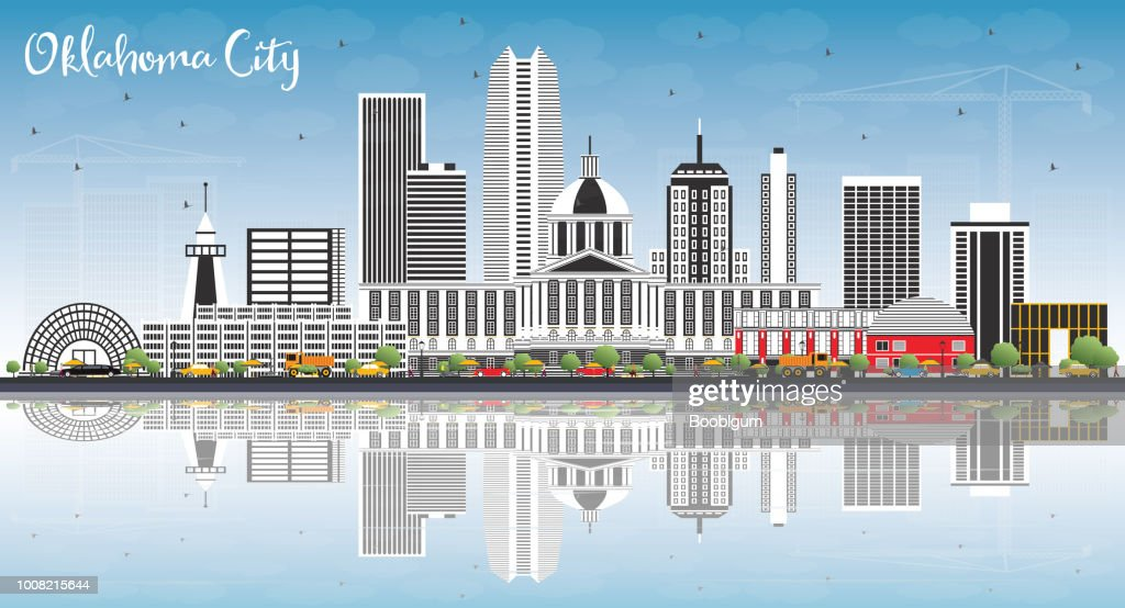 Oklahoma City Skyline with Gray Buildings, Blue Sky and Reflections.