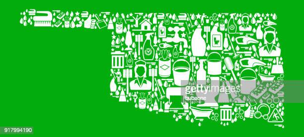 oklahoma cleaning and chores green vector icon pattern - plunger stock illustrations, clip art, cartoons, & icons