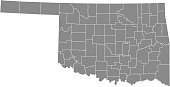 Oklahoma county map vector outline gray background. Map of Oklahoma state of United States of America with counties borders
