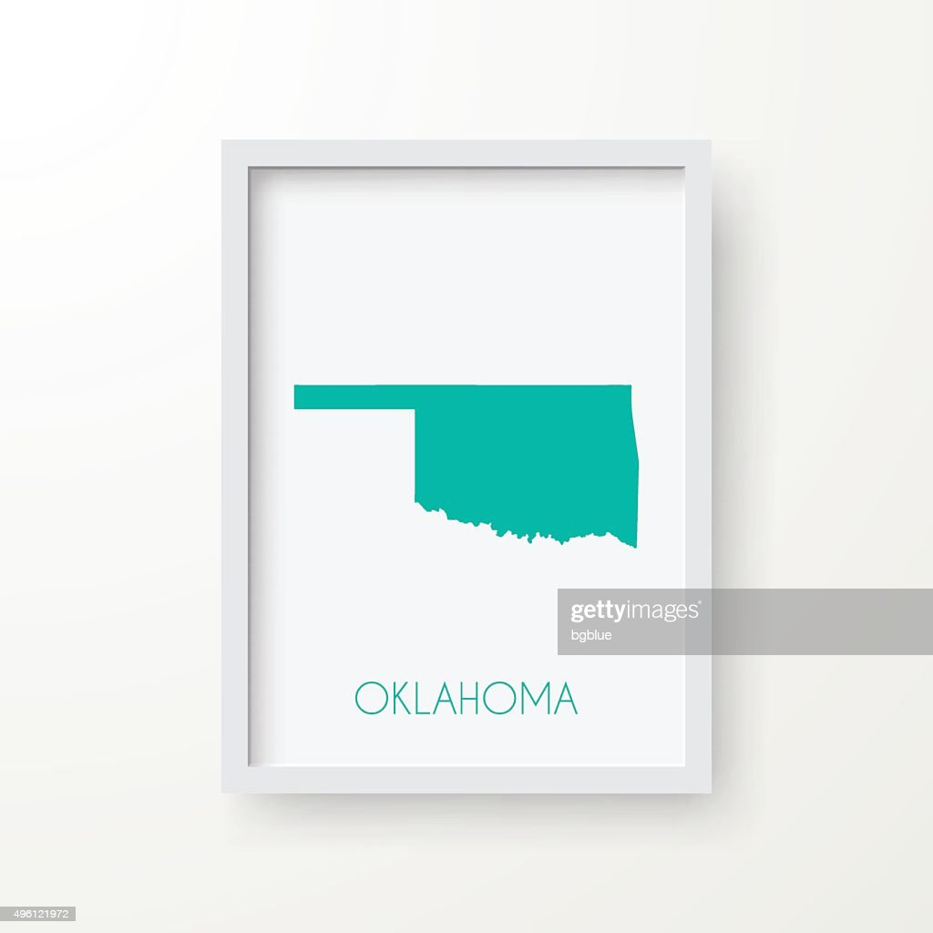 Oklahoma Map in Frame on White Background