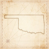 Oklahoma map in retro vintage style - old textured paper