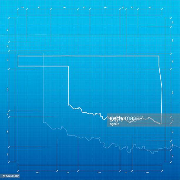 Oklahoma city stock illustrations and cartoons getty images oklahoma map on blueprint background malvernweather Image collections