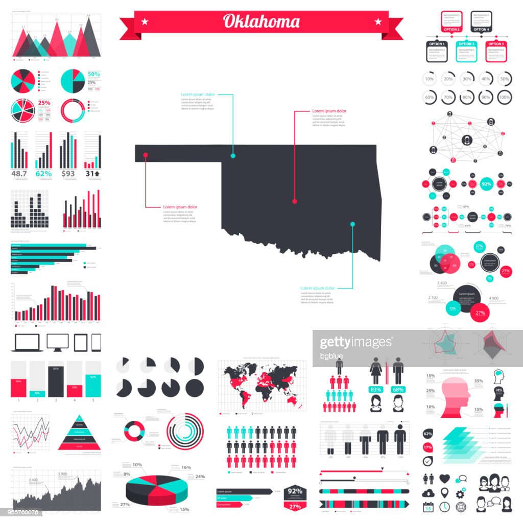 Oklahoma map with infographic elements - Big creative graphic set
