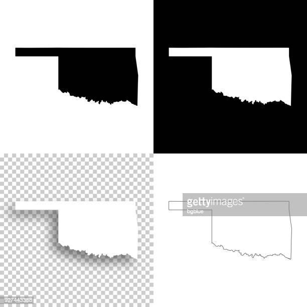 設計 - オクラホマのマップの空白、白と黒の背景 - オクラホマ州点のイラスト素材/クリップアート素材/マンガ素材/アイコン素材