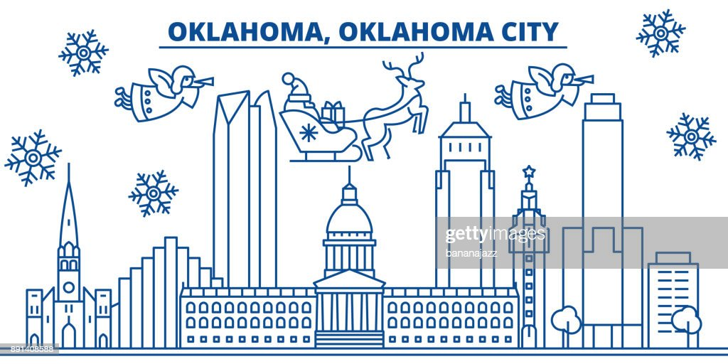USA, Oklahoma , Oklahoma City winter city skyline. Merry Christmas and Happy New Year decorated banner. Winter greeting card with snow and Santa Claus. Flat, line vector. Linear christmas illustration