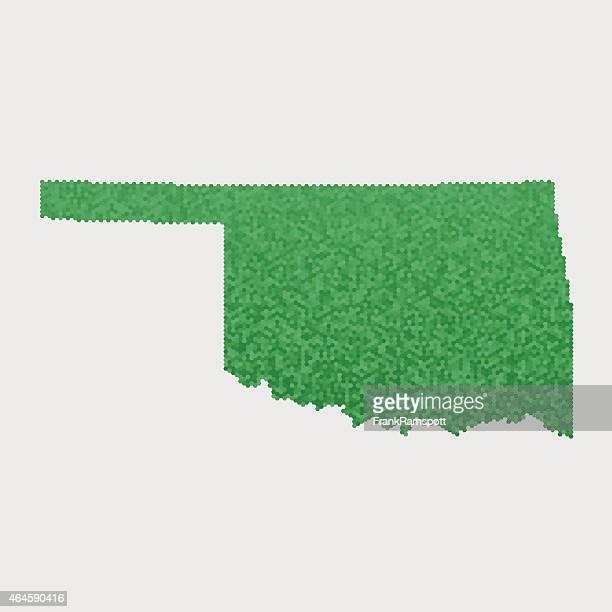 Oklahoma State Map Green Hexagon Pattern