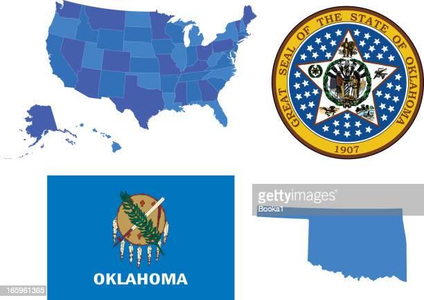 oklahoma state set - oklahoma stock illustrations