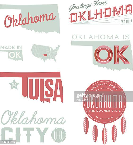 oklahoma typography - oklahoma city stock illustrations
