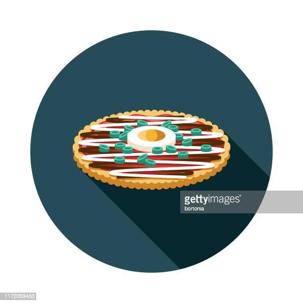 ilustraciones, imágenes clip art, dibujos animados e iconos de stock de icono de comida japonesa okonomiyaki - bonito del norte