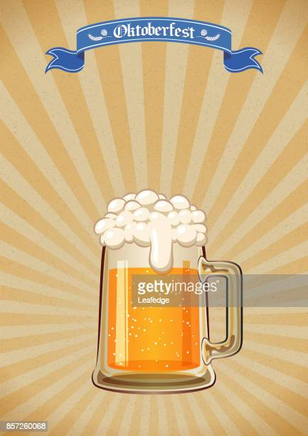 oktoberfest background [beer festival poster] - beer glass stock illustrations, clip art, cartoons, & icons