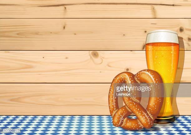 ilustraciones, imágenes clip art, dibujos animados e iconos de stock de fondo de oktoberfest [vaso de cerveza y pretzel en los tablones de madera] - oktoberfest