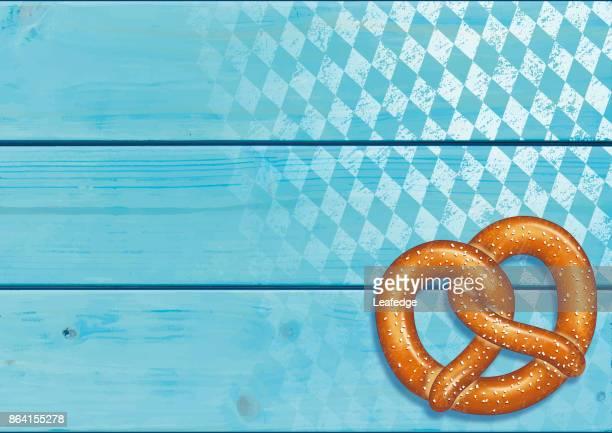 ilustraciones, imágenes clip art, dibujos animados e iconos de stock de fondo de oktoberfest [pretzel en los tablones de madera] - oktoberfest