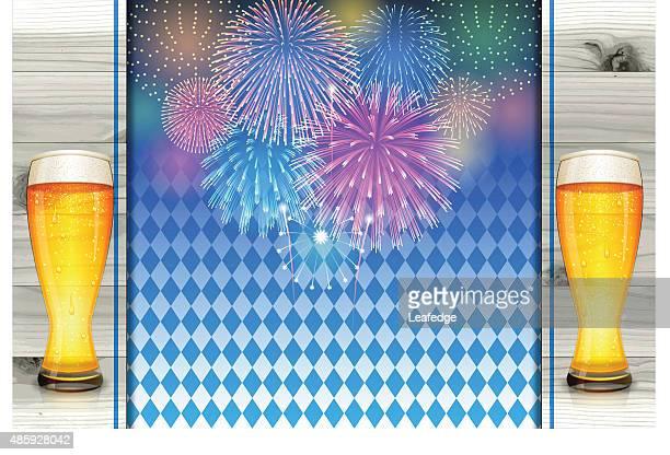 Oktoberfest Hintergrund [ bayerischen Flagge und Bügelbrett sowie Bier und Feuerwerk ]