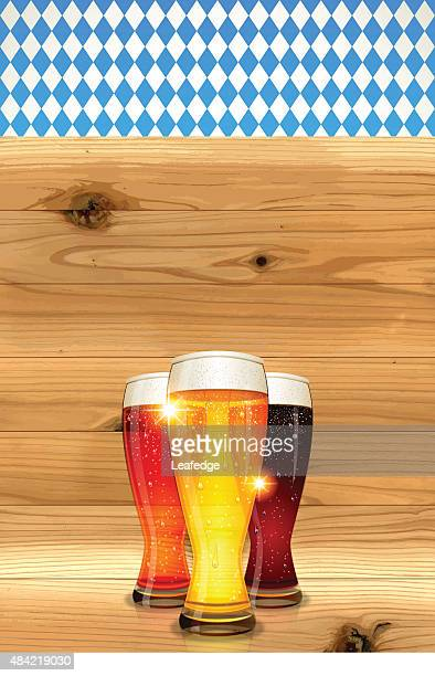oktoberfest background[bavarian flag and board and beer] - lager stock illustrations, clip art, cartoons, & icons